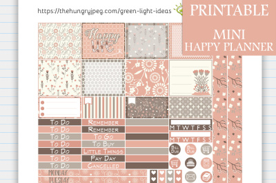 Gray and Blush MINI Happy Planner Stickers