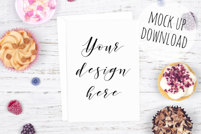 Cute Card Mockup Photo With Cupcakes