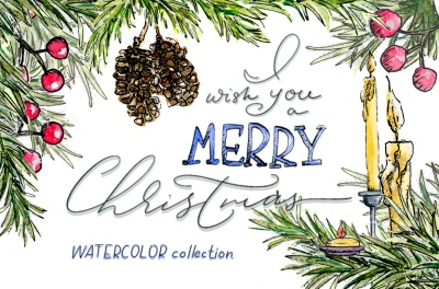 30 % OFF Christmas watercolor