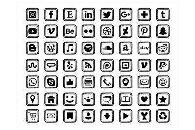 Black Sketch Square Social Media Icons