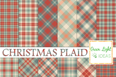Christmas Plaid Digital Papers, Christmas Backgrounds