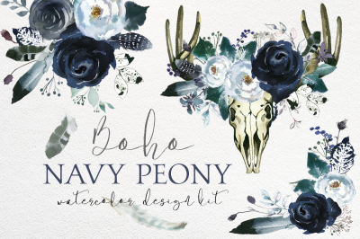Boho Chic Navy Peony Floral Clipart Design Kit