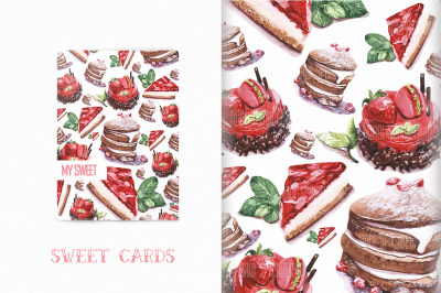 Set watercolor cakes