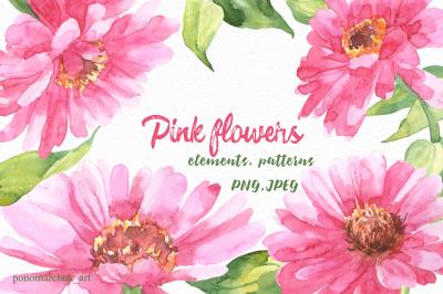 Pink flowers watercolor