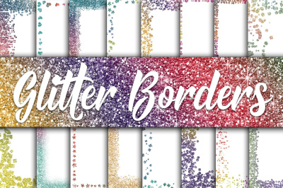 Rainbow Glitter Borders Digital Paper