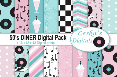 50s Diner Digital Paper