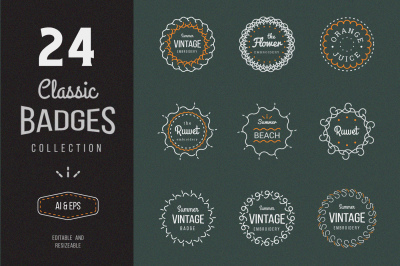 24 Vintage Circle Badges - $1 Intro Sale