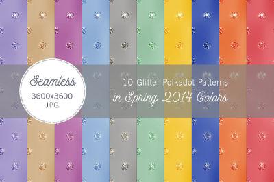 10 Glitter Polka Dot Patterns Spring Colors