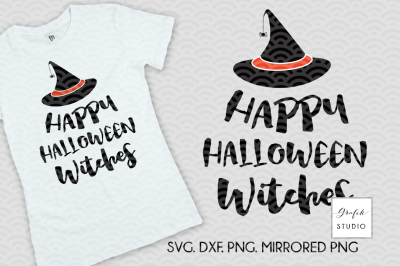 Happy Halloween Witches SVG Cut File, Halloween Cut Files