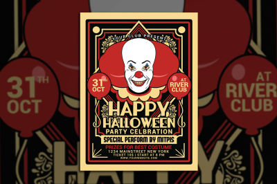 Halloween Party Clown Festival Flyer
