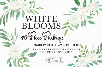 White blooms Wedding Watercolor 49 Piece Clip Art Package