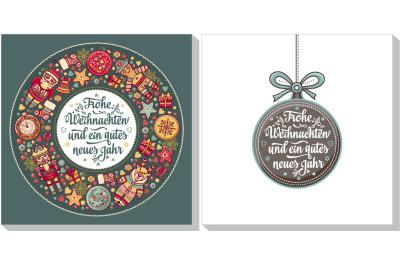 Christmas congratulations. Frohe Weihnacht. Neues Jahr. Congratulations in German language. Christmas in Belgium, Austria, Liechtenstein, Switzerland. Happy Christmas in Deutschland.