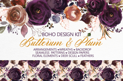 Butterum & Plum Boho Watercolor Florals PNG