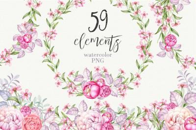 Watercolor romantic floral set