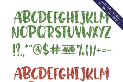 Green & red glitter alphabet clipart