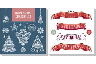 Christmas template. Greeting card. Christmas invitation. Xmas flyer
