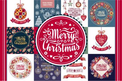 Christmas template. Big bundle. 30 greeting card. Christmas invitation. Xmas flyer