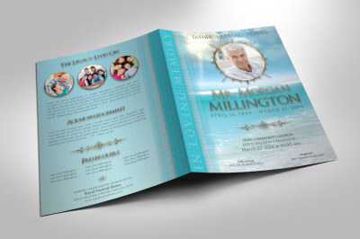 Oceanic Funeral Program Large Template - 8 pages