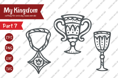 Royal chalice and Medal - cutting file - svg dxf png eps