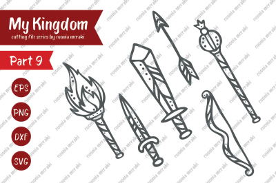 Sword, bow, arrow, torch, sceptre - cutting file kit