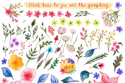 Spring summer design kit watercolor