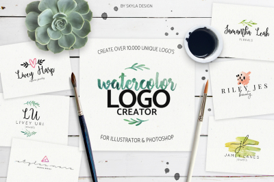 Premade Watercolor Logo Creator Kit for Illustrator + Photoshop