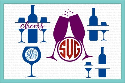 wine glasses monogram, wine glasses svg file, wine bottle monogram svg, glass monogram svg, glasses svg, cheers svg, cheers monogram svg,dxf