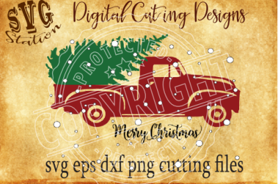 Vintage Red Christmas Truck/ SVG PNG EPS DXF Cutting File Silhouette Cricut Scal