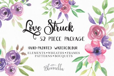 Love Stuck 52 Piece Package Watercolor Hand Painted Clip Art