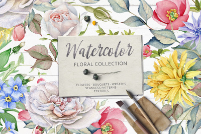 15% OFF. Watercolor Floral Collection