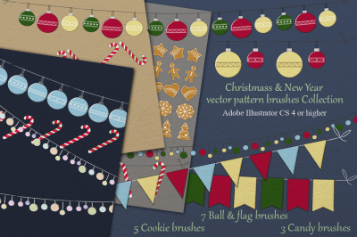 Christmas & New Year vector brushes pack
