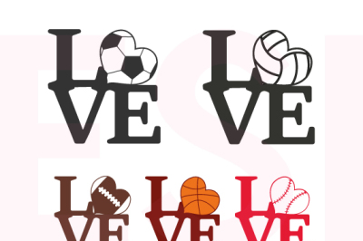 Love Sports Design Bundle - SVG, DXF, PNG, EPS - Cutting Files