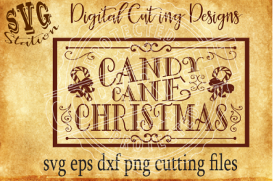 Candy Cane Christmas / SVG PNG EPS DXF Cutting File Silhouette Cricut Scal