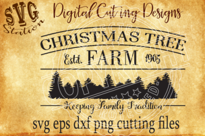 Vintage Christmas Tree Farm / SVG PNG EPS DXF Cutting File Silhouette Cricut Scal