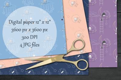 Good night digital paper pack. Scrapbooking printable papers.