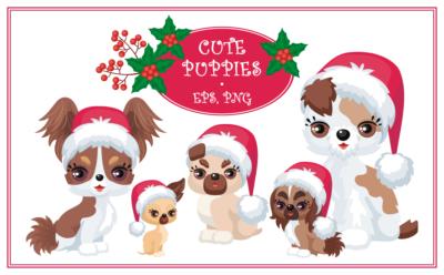 Cute puppies. Christmas mini set