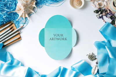 Blue Invitation Top View Mockup 10111