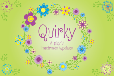 Quirky Font (otf) with editable vector flowers (AI)