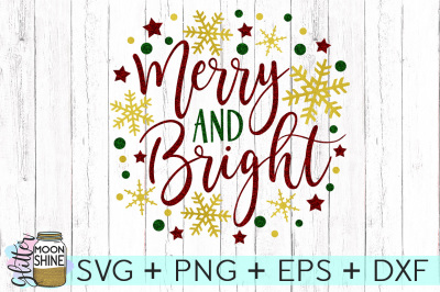 Merry And Bright SVG PNG DXF EPS Cutting Files