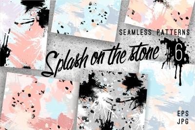 6 seamless patterns. Splash & stone.