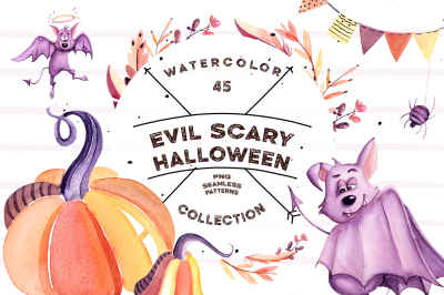 Watercolor Evil Scary Halloween