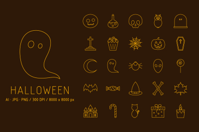 25 Halloween Icons + Card + Pattern