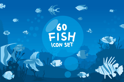 60 Fish Icon Set