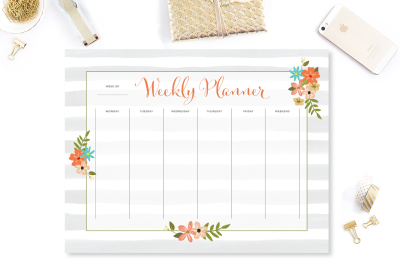 Floral Stripes Weekly Planner