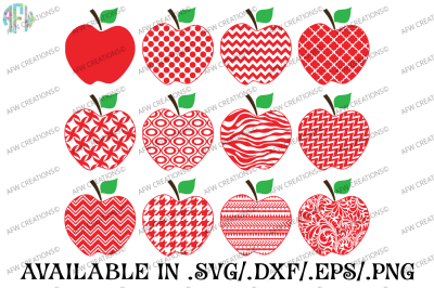 Pattern Apples - SVG, DXF, EPS Cut Files