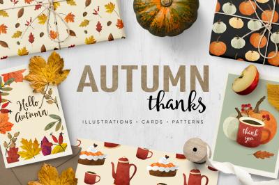 Autumn thanks watercolor illustrations & patterns