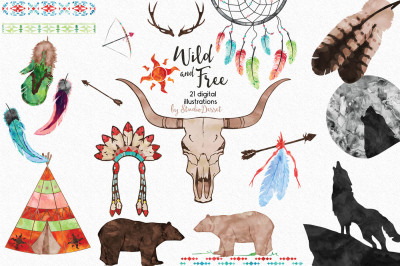 Wild and Free - Tribal Watercolor Cliparts