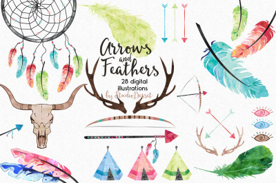 Arrows and Feathers - Watercolor Cliparts
