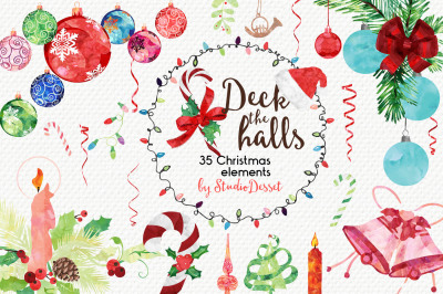Deck the Halls - Watercolor Christmas Elements
