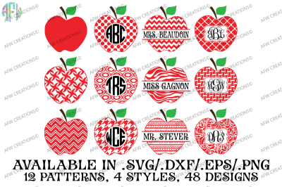 Split & Monogram Pattern Apples - SVG, DXF, EPS Cut Files